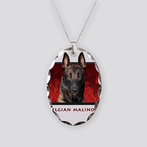 Belgian Malinois Necklace Oval Charm