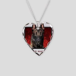 Belgian Malinois Necklace Heart Charm