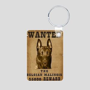 """""""Wanted"""" Belgian Malinois Aluminum Photo Keychain"""