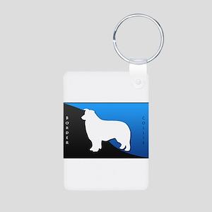 Border Collie Aluminum Photo Keychain