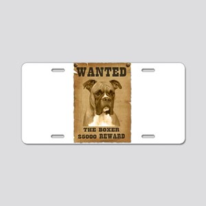 """""""Wanted"""" Boxer Aluminum License Plate"""