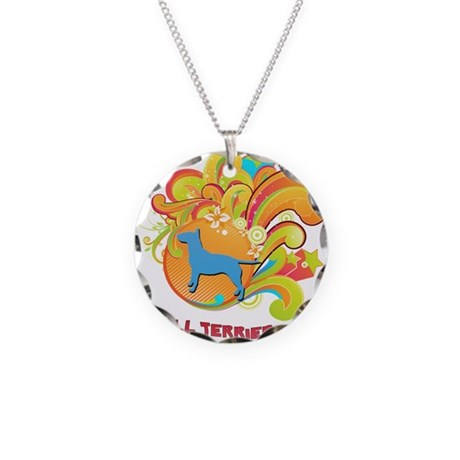 Groovy Bull Terrier Necklace Circle Charm