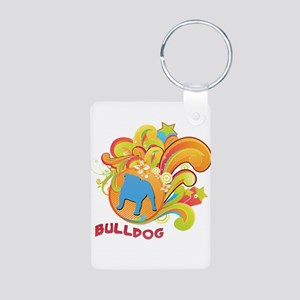 Groovy Bulldog Aluminum Photo Keychain