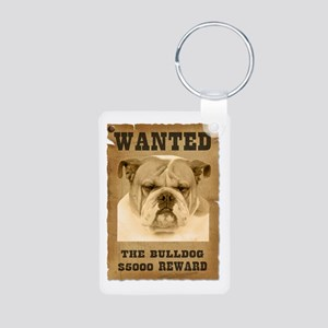 """Wanted"" Bulldog Aluminum Photo Keychain"