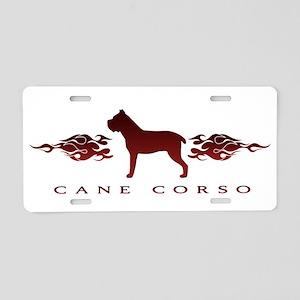 Cane Corso Flames Aluminum License Plate