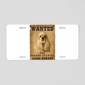 """Wanted"" Cocker Spaniel Aluminum License Plate"