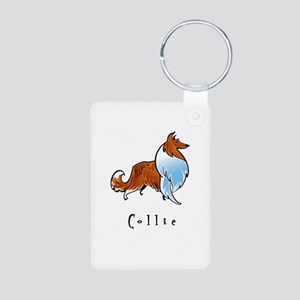 Collie Illustration Aluminum Photo Keychain