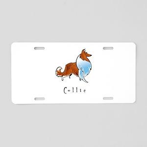 Collie Illustration Aluminum License Plate
