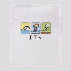 Triathlon Stick Figure Throw Blanket