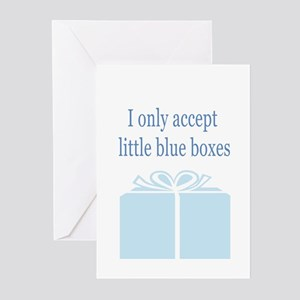blue box Greeting Cards