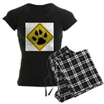 Cat Crossing Sign Women's Dark Pajamas