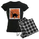 Halloween Black Cat Women's Dark Pajamas