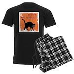 Halloween Black Cat Men's Dark Pajamas
