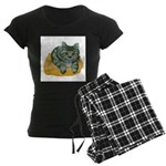 Tabby Cat Drawing Women's Dark Pajamas