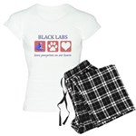 Black Lab Pawprints Women's Light Pajamas