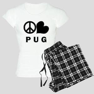 Peace Love Pug Women's Light Pajamas