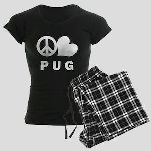 Peace Love Pug Women's Dark Pajamas