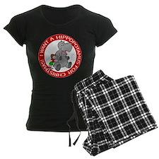 Hippopotamus For Christmas Women's Dark Pajamas