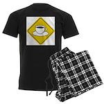 Coffee Crossing Sign Men's Dark Pajamas