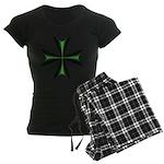 Green Maltese Cross Women's Dark Pajamas