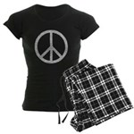White Peace Sign Women's Dark Pajamas