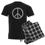 White Peace Sign Men's Dark Pajamas