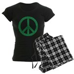 Green Peace Sign Women's Dark Pajamas