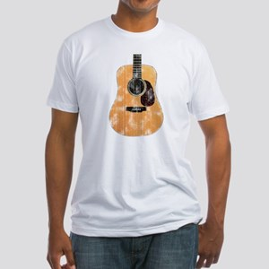 Acoustic Guitar (worn look) Fitted T-Shirt