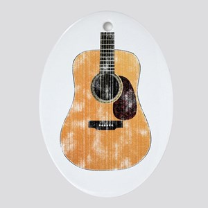 Acoustic Guitar (worn look) Ornament (Oval)