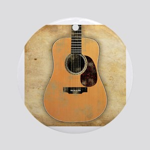 Acoustic Guitar (worn look) Ornament (Round)