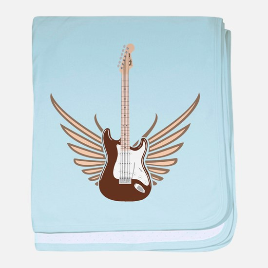 Winged Electric Guitar baby blanket