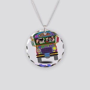 Hippie School Bus Necklace Circle Charm