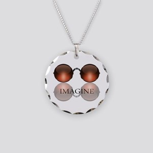 Imagine Rose Colored Glasses Necklace Circle Charm