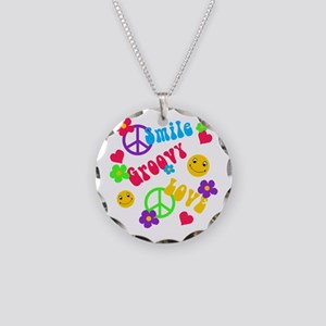 Smile Groovy Love Peace Necklace Circle Charm
