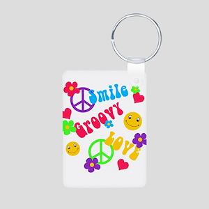 Smile Groovy Love Peace Aluminum Photo Keychain