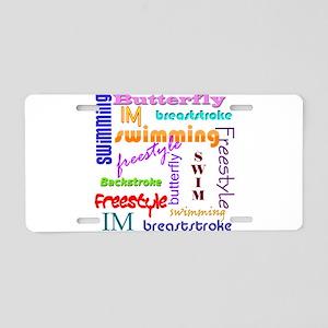 Swimming Everywhere Aluminum License Plate