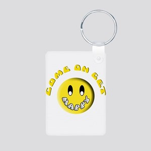 Come On Get Happy Aluminum Photo Keychain