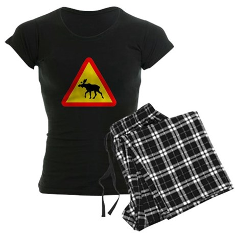 Moose Crossing Sign Women's Dark Pajamas