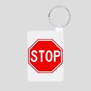 Stop Sign Aluminum Photo Keychain