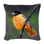 Baltimore Oriole Woven Throw Pillow