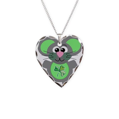 St. Patty's Day Shamrock Mous Necklace Heart Charm