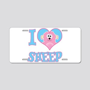 I Love (Heart) Sheep Aluminum License Plate