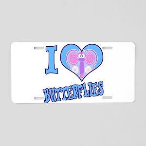 I Love (Heart) Butterflies Aluminum License Plate