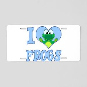 I Love (Heart) Frogs Aluminum License Plate
