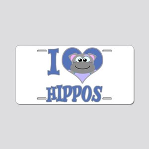 I Love (Heart) Hippos Aluminum License Plate