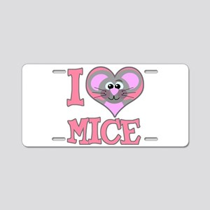 I Love (Heart) Mice Aluminum License Plate