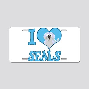 I Love (Heart) Seals Aluminum License Plate