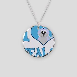 I Love (Heart) Seals Necklace Circle Charm