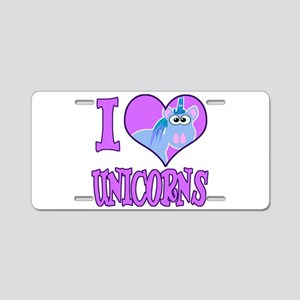 I Love (Heart) Unicorns Aluminum License Plate