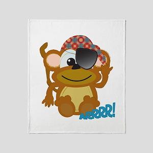 Cute Goofkins Monkey Pirate Throw Blanket